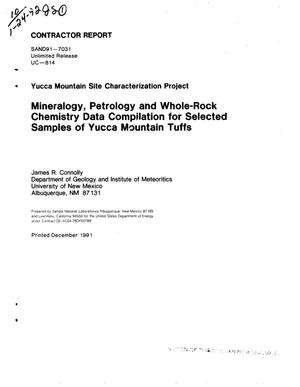 Primary view of object titled 'Mineralogy, petrology and whole-rock chemistry data compilation for selected samples of Yucca Mountain tuffs; Yucca Mountain Site Characterization Project'.