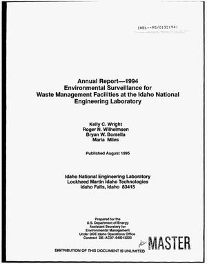 Primary view of object titled 'Environmental surveillance for Waste Management Facilities at the Idaho National Engineering Laboratory. Annual report 1994'.