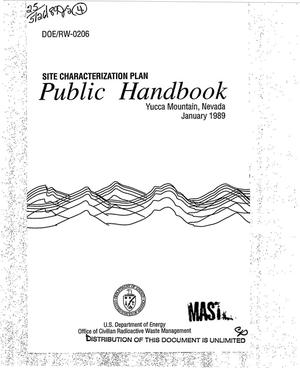 Primary view of object titled 'Site characterization plan: Public Handbook, Yucca Mountain, Nevada'.