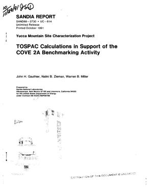 Primary view of object titled 'TOSPAC calculations in support of the COVE 2A benchmarking activity; Yucca Mountain Site Characterization Project'.