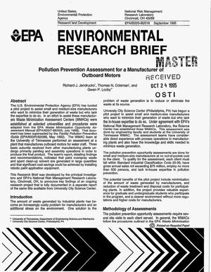 Primary view of object titled 'Environmental research brief: Pollution prevention assessment for a manufacturer of outboard motors'.