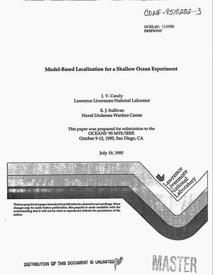 Primary view of object titled 'Model-based localization for a shallow ocean experiment'.