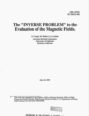 Primary view of object titled 'The {open_quotes}INVERSE PROBLEM{close_quotes} to the evaluation of the magnetic fields'.
