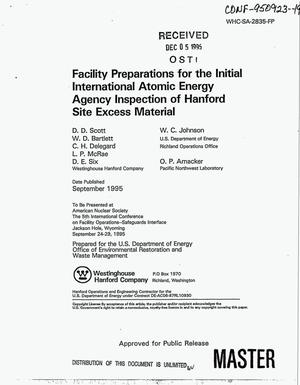 Primary view of object titled 'Facility preparations for the initial International Atomic Energy Agency Inpsection of Hanford Site excess material'.