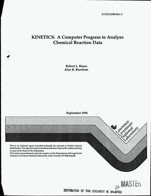Primary view of object titled 'KINETICS: A computer program to analyze chemical reaction data. Revision 2'.