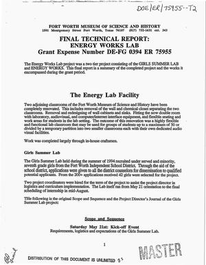 Primary view of object titled 'Final technical report: Energy Works Lab, December 15, 1994--August 14, 1995'.