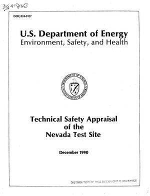 Primary view of object titled 'Technical safety appraisal of the Nevada Test Site'.