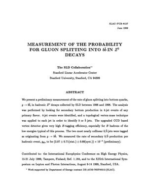 Primary view of object titled 'Measurement of the Probability for Gluon Splitting into b{bar b} in Z{sup 0} Decays'.