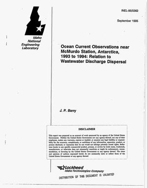 Primary view of object titled 'Ocean current observations near McMurdo Station, Antarctica, 1993 to 1994: Relation to wastewater discharge dispersal'.