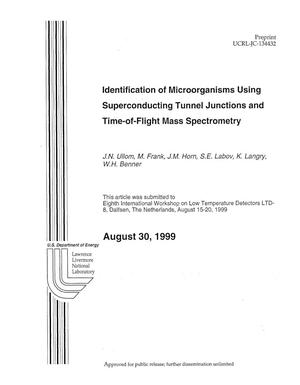 Primary view of object titled 'Identification of micro-organisms using superconducting tunnel junctions and time-of-flight mass spectrometry'.
