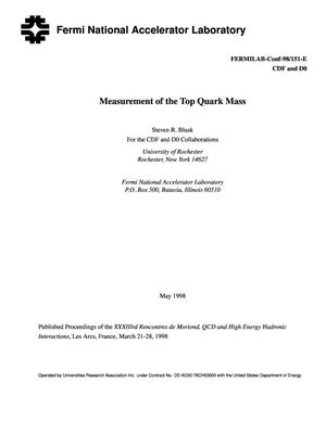 Primary view of object titled 'Measurement of the top quark mass'.