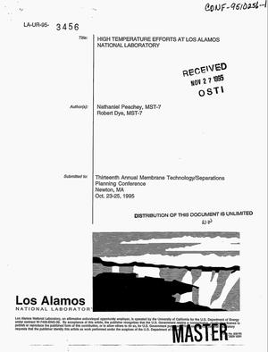 Primary view of object titled 'High temperature efforts at Los Alamos National Laboratory'.