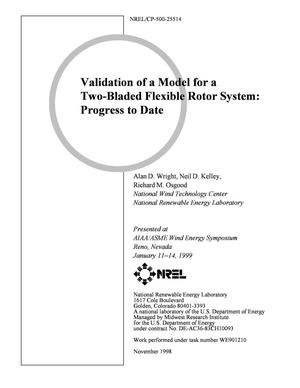 Primary view of object titled 'Validation of a Model for a Two-Bladed Flexible Rotor System: Progress to Date'.