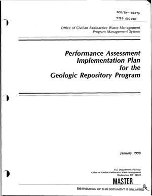 Primary view of object titled 'Performance assessment implementation plan for the geologic repository program'.