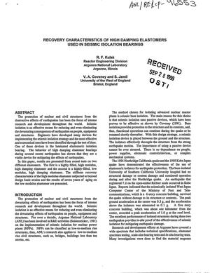 Primary view of object titled 'Recovery characteristics of high damping elastomers used in seismic isolation bearings.'.