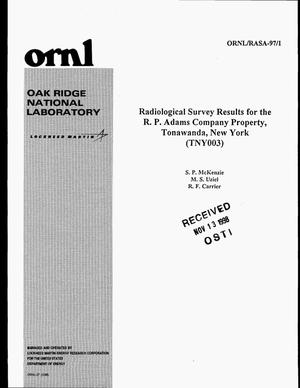 Primary view of object titled 'Radiological Survey Results for the R.P. Adams Company Property, Tonawanda, New York (TNY003)'.