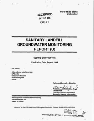 Primary view of object titled 'Sanitary Landfill Groundwater Monitoring Report. Second Quarter 1995'.