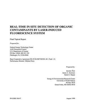 Primary view of object titled 'REAL-TIME IN SITU DETECTION OF ORGANIC CONTAMINANTS BY LASER-INDUCED FLUORESCENCE SYSTEM. Final tropical report (Task 1.3).'.