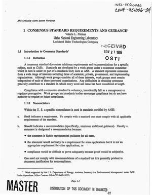 Primary view of object titled 'Consensus standard requirements and guidance'.