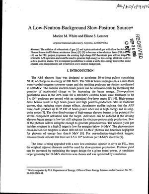 Primary view of object titled 'A low-neutron background slow-positron source.'.