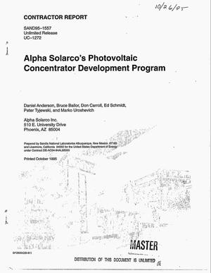 Primary view of object titled 'Alpha Solarco`s Photovoltaic Concentrator Development program'.