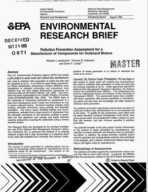 Primary view of object titled 'Environmental research brief: Pollution prevention assessment for a manufacturer of components for outboard motors'.