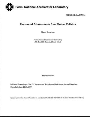 Primary view of object titled 'Electroweak results from hadron colliders'.