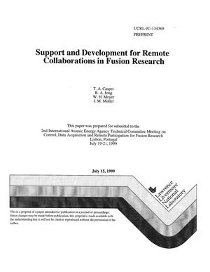 Primary view of object titled 'Support and development for remote collaboration in fusion research'.