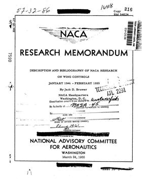 Primary view of object titled 'Description and bibliography of NACA research on wing controls : January 1946 - February 1955'.