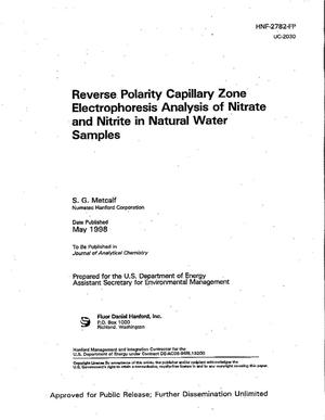 Primary view of object titled 'Reverse polarity capillary zone electrophoresis analysis of nitrate and nitrite in natural water samples'.