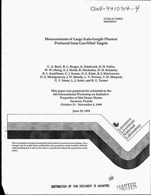 Primary view of object titled 'Measurements of large scale-length plasmas produced from gas-filled targets'.