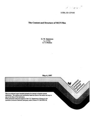 Primary view of object titled 'Content and structure of MCF files'.