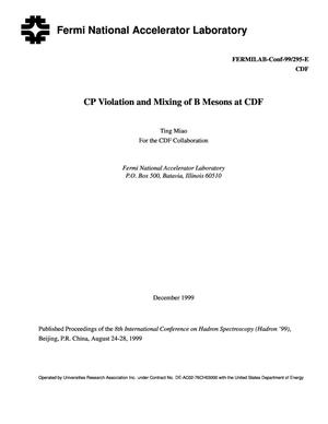 Primary view of object titled 'CP Violation and mixing of B mesons at CDF'.
