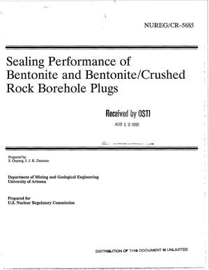Primary view of object titled 'Sealing performance of bentonite and bentonite/crushed rock borehole plugs'.