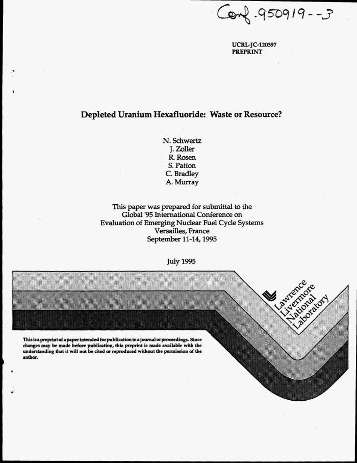 Depleted uranium hexafluoride: Waste or resource? - Digital