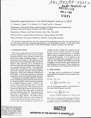 Primary view of object titled 'Separable approximation to the Bethe-Salpeter equation in QCD'.