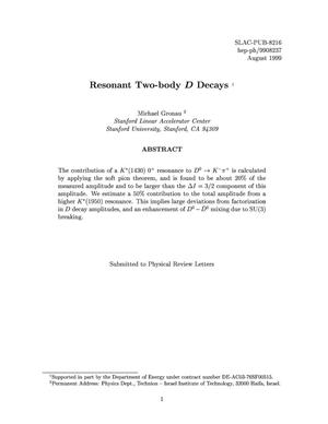 Primary view of object titled 'Resonating Two-body D Decays'.