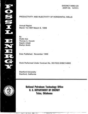 Primary view of object titled 'Productivity and Injectivity of Horizontal Wells'.