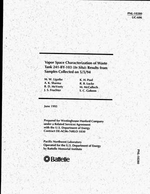 Primary view of object titled 'Vapor space characterization of waste tank 241-BY-103 (in situ): Results from samples collected on May 5, 1994'.