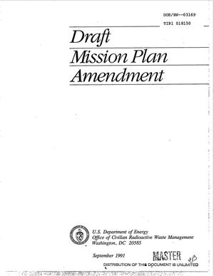 Primary view of object titled 'Draft Mission Plan Amendment'.