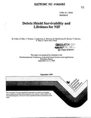 Primary view of object titled 'Debris shield survivability and lifetimes for NIF'.