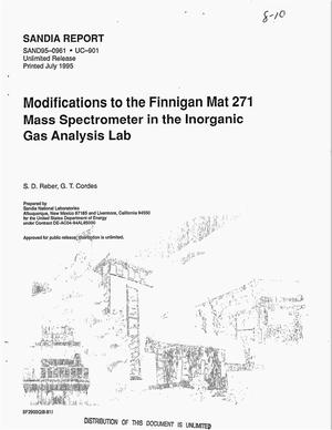 Primary view of object titled 'Modifications to the Finnigan MAT 271 mass spectrometer in the Inorganic Gas Analysis Lab'.