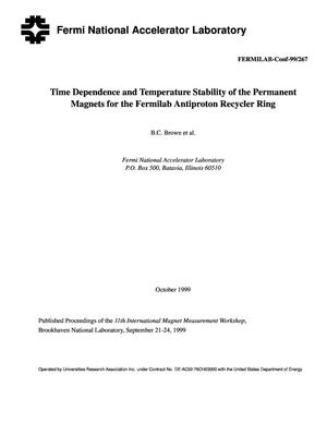 Primary view of object titled 'Time dependence and temperature stability of the permanent magnets for the Fermilab antiproton recycler ring'.