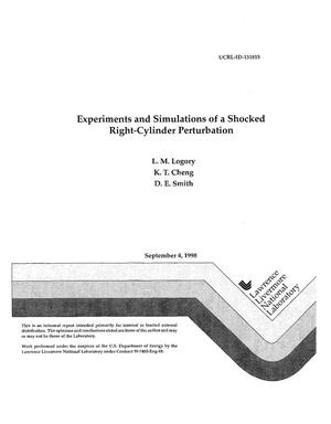 Primary view of object titled 'Experiments and simulations of a shocked right-cylinder perturbation'.