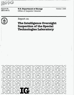 Primary view of object titled 'The intelligence oversight inspection of the Special Technologies Laboratory'.