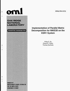 Primary view of Implementation of parallel matrix decomposition for NIKE3D on the KSR1 system