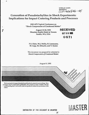 Primary view of object titled 'Generation of pseudotachylites in shock experiments: Implications for impact cratering products and processes'.