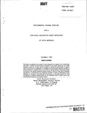 Primary view of object titled 'Environmental program overview for a high-level radioactive waste repository at Yucca Mountain'.