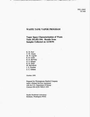 Primary view of object titled 'Vapor space characterization of waste tank 241-BX-104: Results from samples collected on 12/30/94'.