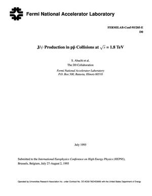 Primary view of object titled 'J/{psi} production in p{anti p} collisions at {radical}s = 1.8 TeV'.